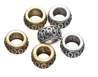 10 PC golden silver mixed color dreadlock metal beads braid cuff 8mm Hole D03