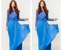 Vintage Blue Lace Gown