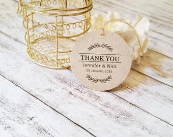 Wedding Favor Tags, Thank You Tags, Custom Name Tags, Kraft Tags, Wedding Hangtags for Favors