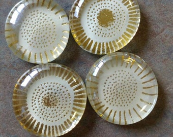 Gold glass magnets set of 4