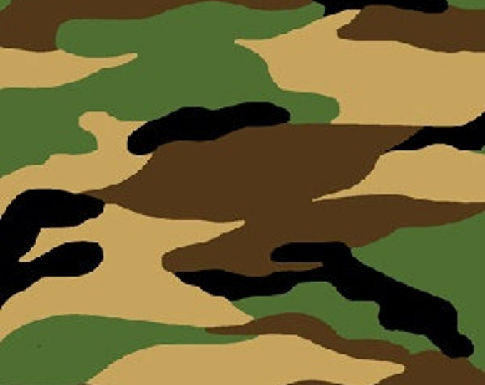 AE Nathan - Traditional Green, Brown, Black and Khaki Camouflage - Cotton Flannel Fabric