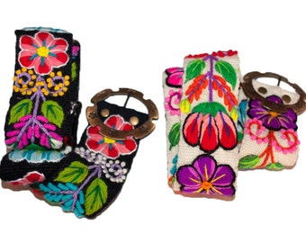 Handmade embroidered wool floral belt