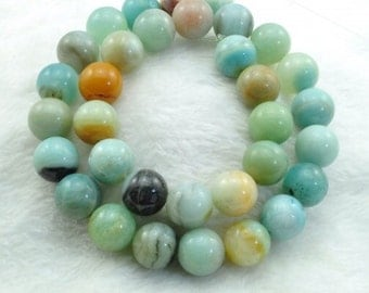 "75% off Natural Amazonite Smooth Round Beads, Opaque Milky Blue Green Gray, Gemstone beads, High Quality, 15.5"" FULL Strand"
