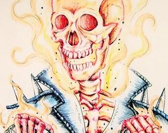 Johnny Ghost Rider - 7 x 10 Original Doodle