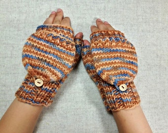 Convertible Fingerless Gloves for Kids, brown, blue, mittens with flap, gift for kids