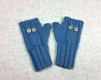 "Organic Fingerless Gloves ""Owl"" for toddlers, steel blue, fingerless mittens wool merino"