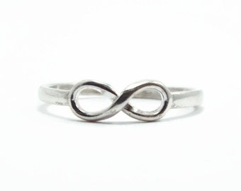 Infinity Ring, Friendship Ring, Adjustable Ring, Sterling Silver Ring, Pinky Ring, Knuckle Ring, Midi Ring, Infinity Knot (B86)