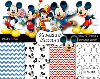 Mickey Mouse Digital Paper and Clipart Pack ~ Printable, scrapbooking, invitations, decor and more