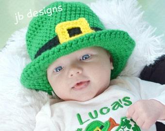 St Patrick's day beanie hat, St Patricks day crochet top hat, baby boy, leprechaun, newborn photo prop, Marty gras, crochet top hat