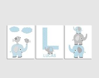 Blue and grey elephant Nursery Art Print Set ,  Baby Room Decor, baby boy wall art, custom clors, stacked elephants, Lucas -  UNFRAMED