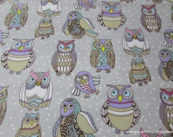 Flannel Fabric - Colorful Owl Friends - 1 yard - 100% Cotton Flannel