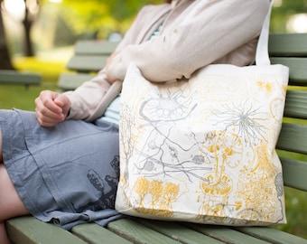 Neurons Medical Illustration Tote Bag | Anatomical Brain, Neuroscience, Future Nurse, Nursing, Anatomy, shoulder bag, Recycled Canvas