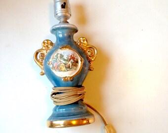 Beautiful Vintage Porcelain Lamp of Victorian Depiction