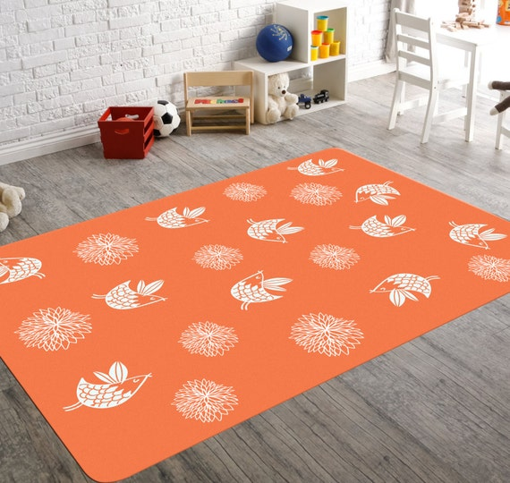 Coral And Turquoise Floral Bird Bedroom Rug Coral