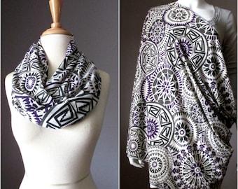 Nursing cover  scarf, nursing cover, infinity scarf,  breastfeeding cover, nursing infinity scarf, geometric scarf