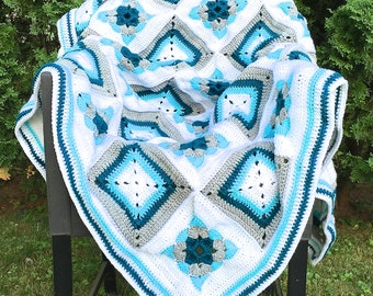 Teal Granny Square Patchwork Crochet Blanket