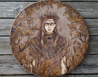 Falling - Original Hand Made Wall Decor Pyrography Wood Burning by Stephen Willey (Eyes On Fire)