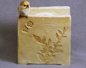 Handmade Ceramic Plant Holder with a Bird