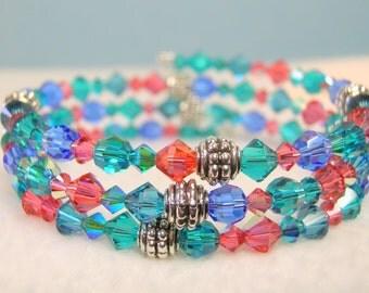 Blue Zircon Crystal Memory Wire Bracelet