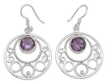 Natural Amethyst Gemstone Earrings Solid 925 Silver Jewelry IE19650