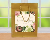 20 Wedding Welcome Bags, Vintage Floral Labels on Sage Green Bags. destination wedding bags, out of towner goody bags