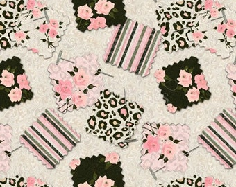 Mademoiselle Square Swatch Fabric - Quilting Cotton; pastel leopard/flower [[by the half yard]]