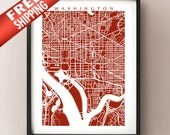 Washington Map Art - District of Columbia poster - Vertical Orientation, Portrait