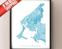 Cartagena Map Print - Colombia Poster