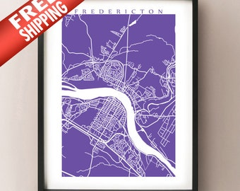 Fredericton Map - New Brunswick Art Poster