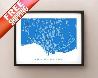Summerside Map - PEI Art Poster