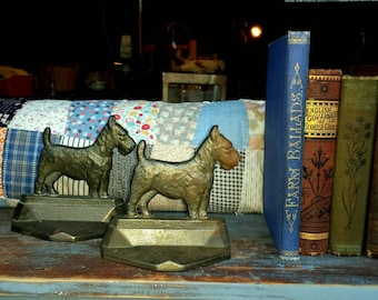 Antique Cast Iron Scotty Dog Bookends...Art Deco 1929 Connecticut Foundry