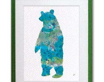 Blue Bear Art Watercolor Reproduction print - 5x7 - Bear, Grizzly Bear Print - Standing Bear, Silhouette Art - Animal Wall Decor