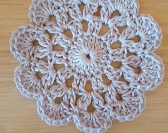 Set of 4 Crochet flower coasters in grey