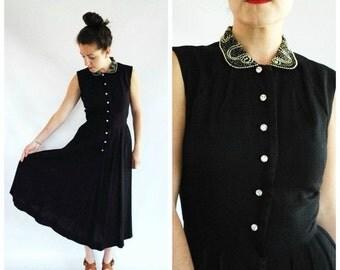 SALE 30% OFF 1950's Linen Dress - Black Beaded Flare 50's Dress - Size S