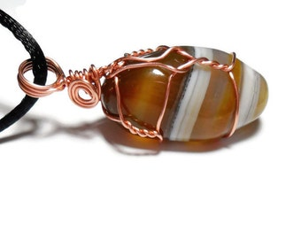 agate crystal necklace, banded agate, wire wrapped agate, agate and copper wire, chakra necklace, genuine banded agate, cord necklace,