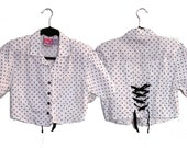 Vintage Polka Dot Cropped Short Sleeve Button Up (Small-Medium)