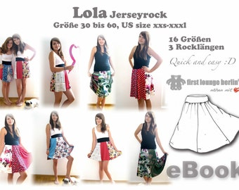 Lola *** ebook pdf summer skirt in 16 sizes 30 to 60, US size xxs-xxxl sewing patterns for beginners by firstloungeberlin Women Ladies Teens