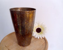 Antique Indian cup Large lassi cup Incised brass cup with incised floral patterns