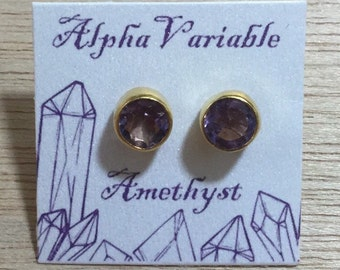 Vermeil Gold/Sterling Silver Amethyst Stud Earrings - February Birthstone