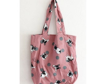 Frenchie Double Canvas Tote Bag with French Bull Dog Print on SAKURA Pink Fabric