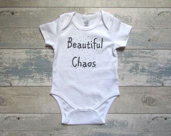 Beautiful Chaos Baby Grow - Screen Printed Organic Baby Clothes