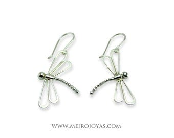 Dragonfly Earrings Sterling Silver / Pendientes Libelula Plata 925