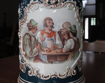 Beautifully Painted Antique Thewalt German Beer Stein, Large 12.5 Inch Tall, Lidded,138,Drinking Scene,Bar Maid,Vintage Gift for Men,Barware