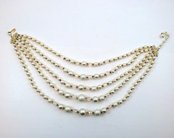 Vintage Five-Strand Faux Pearl and Aurora Borealis Crystal Choker Necklace 5-strand Japan 1950s AB