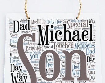 Personalised Son Word Art Wooden Hanging Plaque.