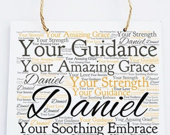 Personalised Inspirational Motivation Word Art Hanging Plaque -Amazing Grace.