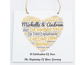 Personalised Your Engagement Word Art Wooden Plaque