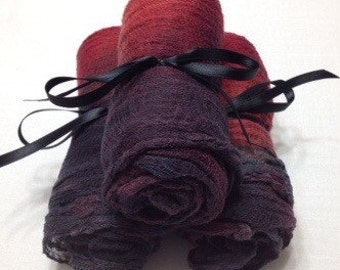 2yds, Cotton Cheese Cloth, Gauze, Felting, fabric Gauze, Hand Dyed, Photo Prop, Red and Black
