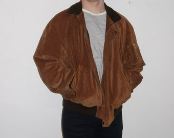 Suede Leather Jacket with Plaid Flannel Lining Bomber Jacket Style 70s 90s collar coat