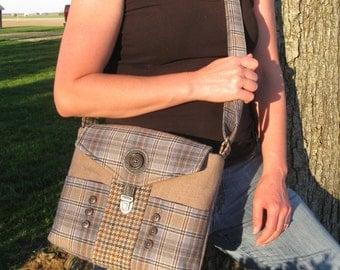 Purse,cross body,handmade,repurpose,recycle,plaid,tan,blue, hand bag,messenger